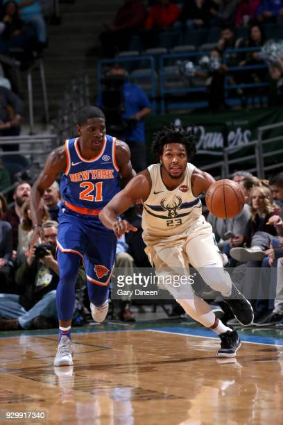Sterling Brown of the Milwaukee Bucks handles the ball against the New York Knicks on March 9 2018 at the BMO Harris Bradley Center in Milwaukee...