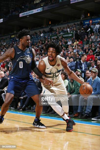 Sterling Brown of the Milwaukee Bucks handles the ball against the Orlando Magic on April 9 2018 at the BMO Harris Bradley Center in Milwaukee...