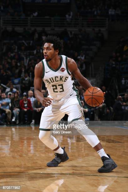 Sterling Brown of the Milwaukee Bucks handles the ball during the game against the Oklahoma City Thunder on October 31 2017 at the BMO Harris Bradley...