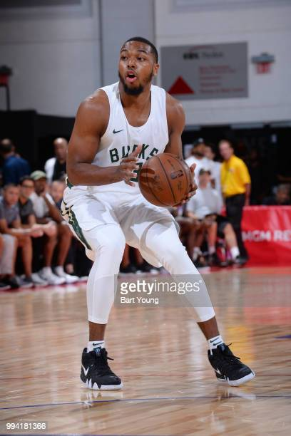 Sterling Brown of the Milwaukee Bucks handles the ball during the game against the Dallas Mavericks on July 8 2018 at the Cox Pavilion in Las Vegas...