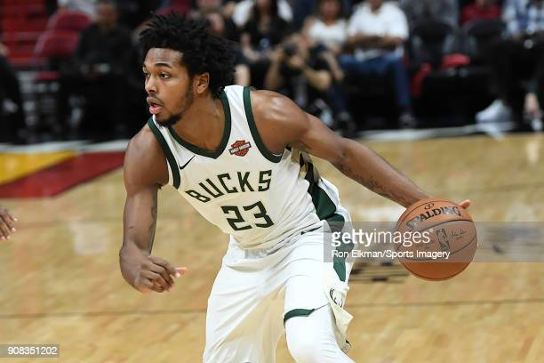 Sterling Brown of the Milwaukee Bucks in action against the Miami Heat on January 14 2018 at American Airlines Arena in Miami Florida NOTE TO USER...