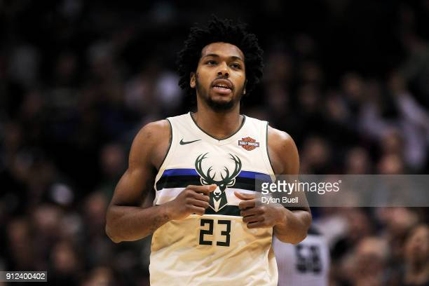 Sterling Brown of the Milwaukee Bucks jogs across the court in the fourth quarter against the Philadelphia 76ers at the Bradley Center on January 29...