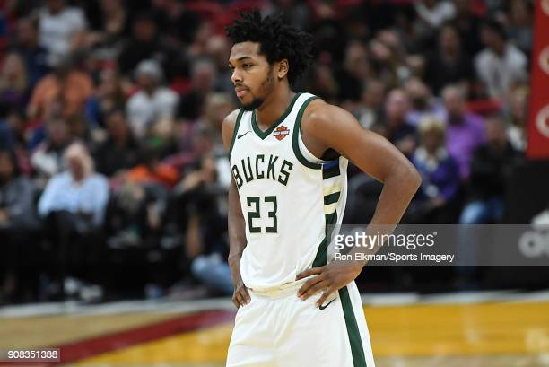 Sterling Brown of the Milwaukee Bucks looks on against the Miami Heat on January 14 2018 at American Airlines Arena in Miami Florida NOTE TO USER...