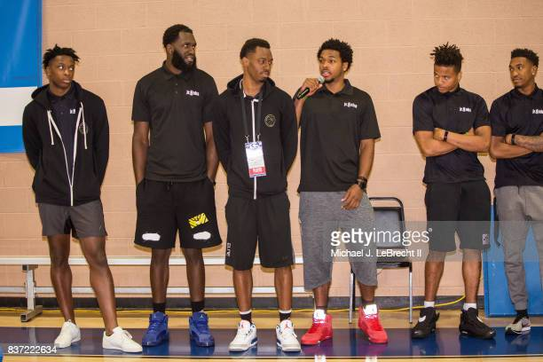 Sterling Brown of the Milwaukee Bucks participates in a Jr NBA Clinic in New York New York on August 15 2017 NOTE TO USER User expressly acknowledges...