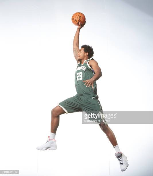 Sterling Brown of the Milwaukee Bucks poses for a photo during the 2017 NBA Rookie Shoot on August 11 2017 at the Madison Square Garden Training...