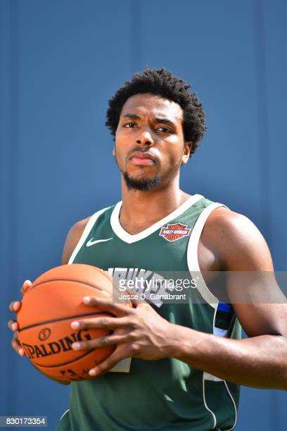 Sterling Brown of the Milwaukee Bucks poses for a portrait during the 2017 NBA rookie photo shoot on August 11 2017 at the Madison Square Garden...