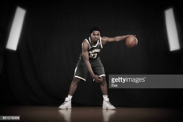 Sterling Brown of the Milwaukee Bucks poses for a portrait during the 2017 NBA Rookie Photo Shoot at MSG Training Center on August 11 2017 in...