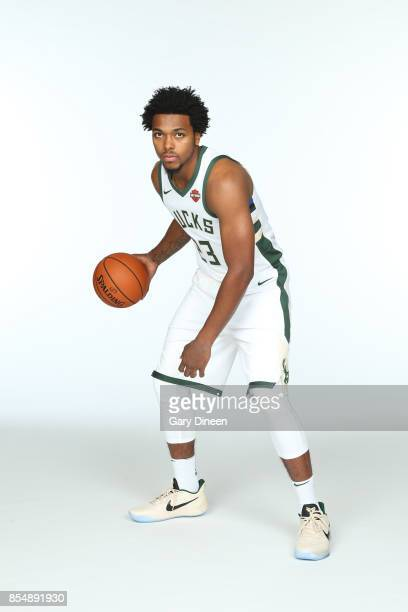 Sterling Brown of the Milwaukee Bucks poses for a portrait during the 201718 NBA Media Day on September 25 2017 at the BMO Harris Bradley Center in...