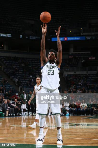 Sterling Brown of the Milwaukee Bucks shoots a free throw against the Detroit Pistons on October 13 2017 at the BMO Harris Bradley Center in...