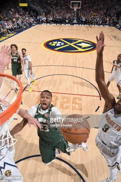 Sterling Brown of the Milwaukee Bucks shoots the ball against the Denver Nuggets on March 09 2020 at the Pepsi Center in Denver Colorado NOTE TO USER...