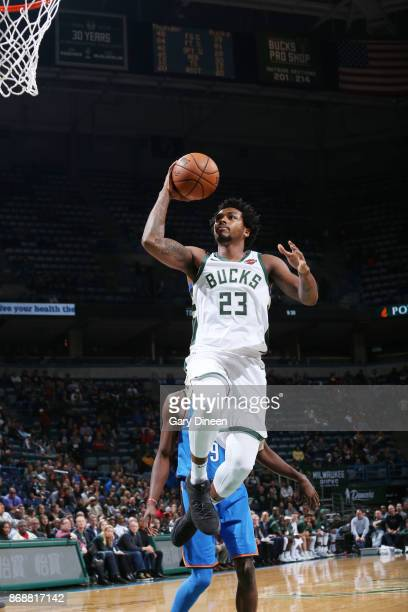 Sterling Brown of the Milwaukee Bucks shoots the ball against the Oklahoma City Thunder on October 31 2017 at the BMO Harris Bradley Center in...