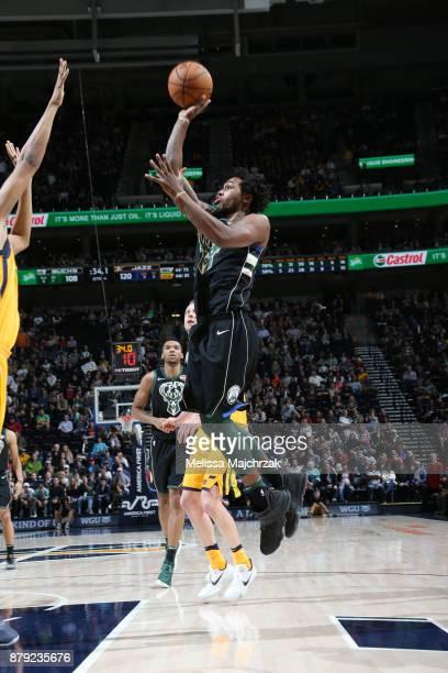 Sterling Brown of the Milwaukee Bucks shoots the ball against the Utah Jazz on November 25 2017 at vivintSmartHome Arena in Salt Lake City Utah NOTE...