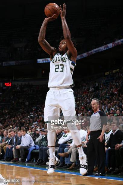 Sterling Brown of the Milwaukee Bucks shoots the ball against the Orlando Magic on January 10 2018 at the BMO Harris Bradley Center in Milwaukee...