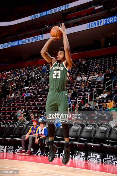 Sterling Brown of the Milwaukee Bucks shoots the ball against the Detroit Pistons on February 28 2018 at Little Caesars Arena in Detroit Michigan...