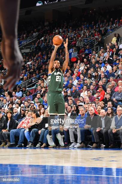 Sterling Brown of the Milwaukee Bucks shoots the ball during the game against the Philadelphia 76ers on April 11 2018 in Philadelphia Pennsylvania...