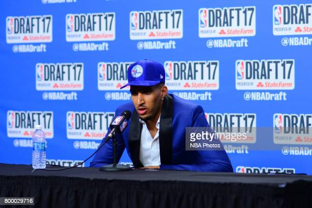 Sterling Brown of the Philadelphia 76ers talks to the media after being selected 46th overall at the 2017 NBA Draft on June 22 2017 at Barclays...