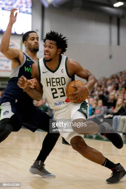 Sterling Brown of the Wisconsin Herd handles the ball against the Iowa Wolves during the NBA GLeague on December 1 2017 at the Menominee Nation Arena...