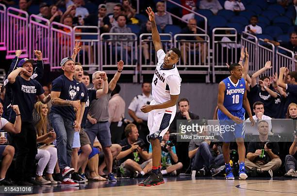 Sterling Gibbs of the Connecticut Huskies celebrates a three pointer during the Final of the 2016 AAC Basketball Tournament against the Memphis...