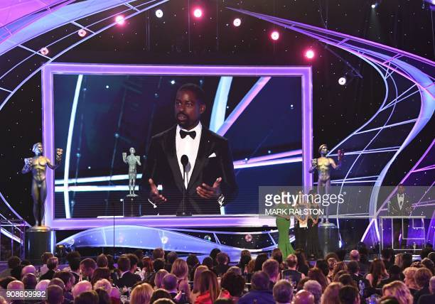 Sterling K Brown accepts the Outstanding Performance by a Male Actor in a Drama Series award for 'This Is Us' onstage during the 24th Annual Screen...