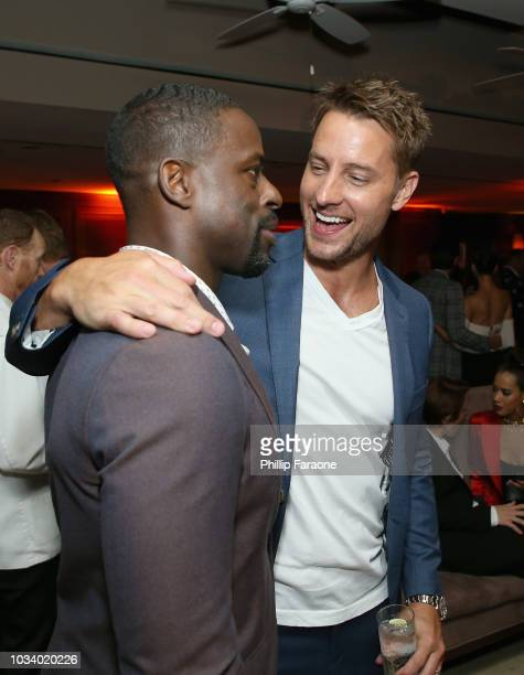 Sterling K Brown and Justin Hartley attend the 2018 PreEmmy Party hosted by Entertainment Weekly and L'Oreal Paris at Sunset Tower on September 15...