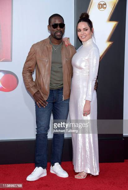 Sterling K Brown and Marta Milans attend the world premiere of Shazam at TCL Chinese Theatre on March 28 2019 in Hollywood California