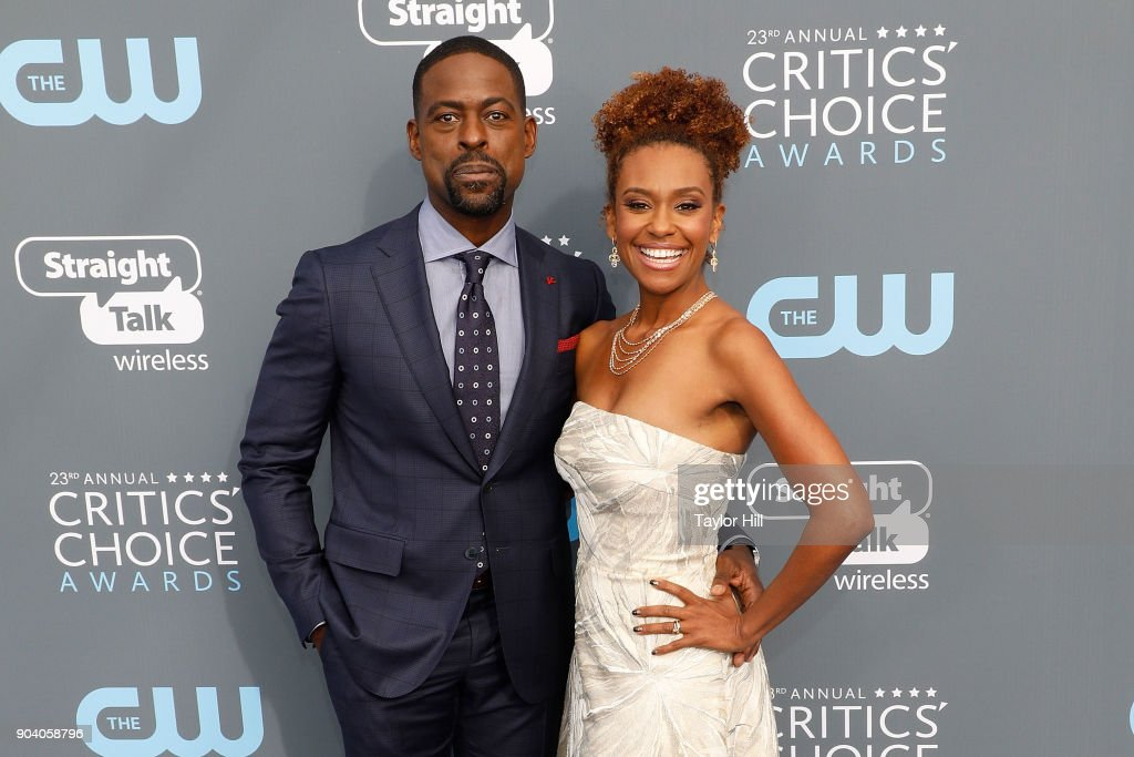Sterling K. Brown and Ryan Michelle Bathe attend the 23rd Annual Critics' Choice Awards at Barker Hangar on January 11, 2018 in Santa Monica, California.