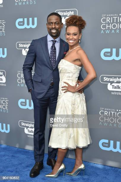 Sterling K Brown and Ryan Michelle Bathe attend The 23rd Annual Critics' Choice Awards Arrivals at The Barker Hanger on January 11 2018 in Santa...