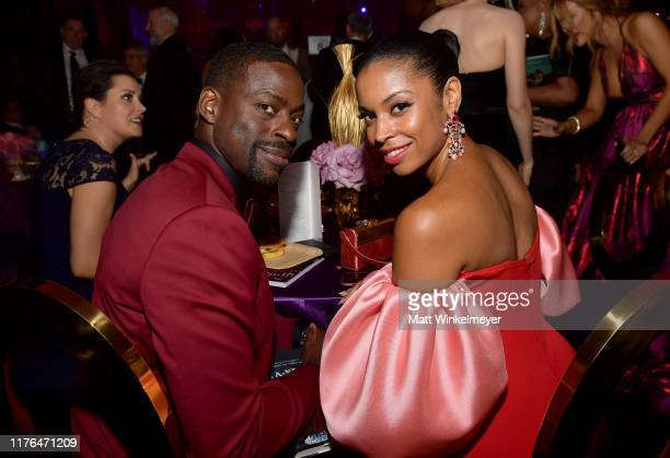 Sterling K Brown and Susan Kelechi Watson attend the Governors Ball during the 71st Emmy Awards at LA Live Event Deck on September 22 2019 in Los...