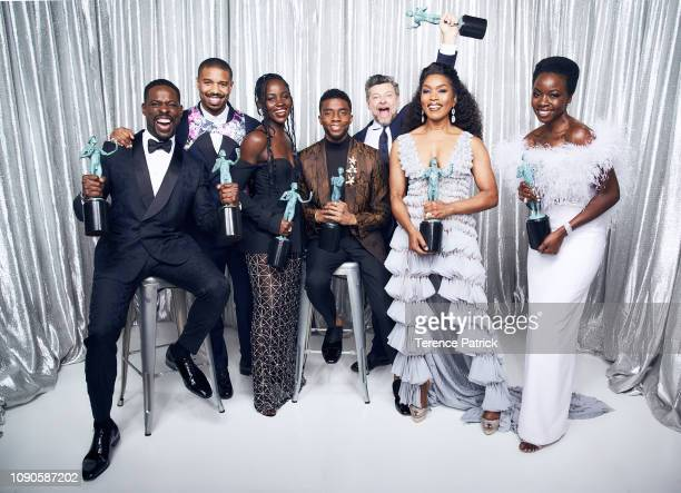 Sterling K Brown Angela Bassett Lupita Nyong'o Chadwick Boseman Danain Gurira Michael B Jordan and Andy Sirkis winners of Outstanding Performance by...