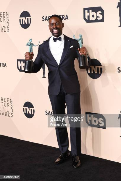 Sterling K. Brown attends 24th Annual Screen Actors Guild Awards - Press Room on January 21, 2018 in Los Angeles, California.