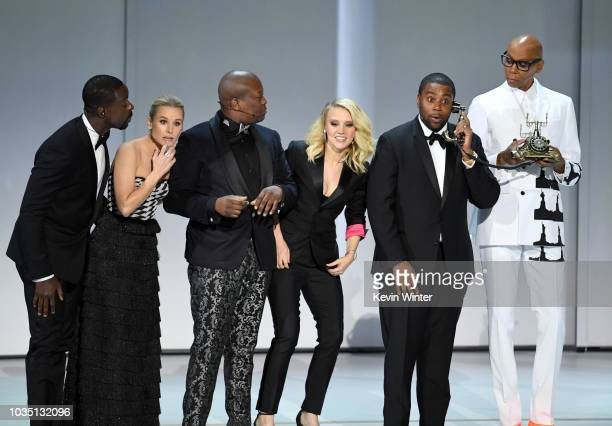 Sterling K Brown Kristen Bell Tituss Burgess Kate McKinnon Kenan Thompson and RuPaul perform onstage during the 70th Emmy Awards at Microsoft Theater...