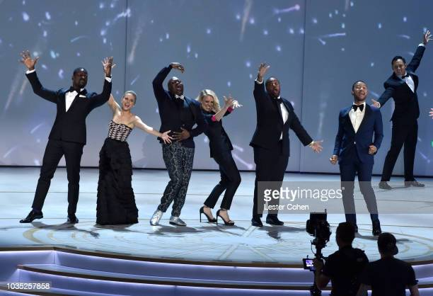 Sterling K Brown Kristen Bell Tituss Burgess Kate McKinnon Kenan Thompson and John Legend onstage during the 70th Emmy Awards at Microsoft Theater on...
