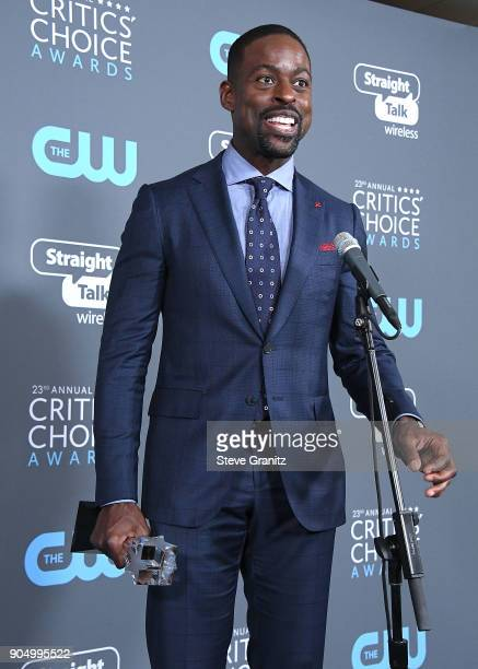 Sterling K Brown poses at the The 23rd Annual Critics' Choice Awards at Barker Hangar on January 11 2018 in Santa Monica California