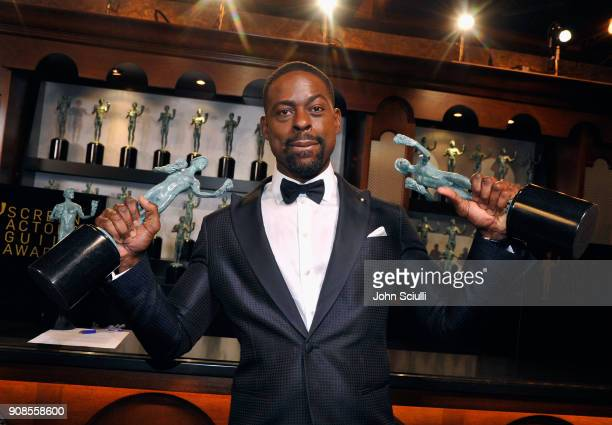 Sterling K Brown poses in the trophy room at the 24th Annual Screen Actors Guild Awards at The Shrine Auditorium on January 21 2018 in Los Angeles...