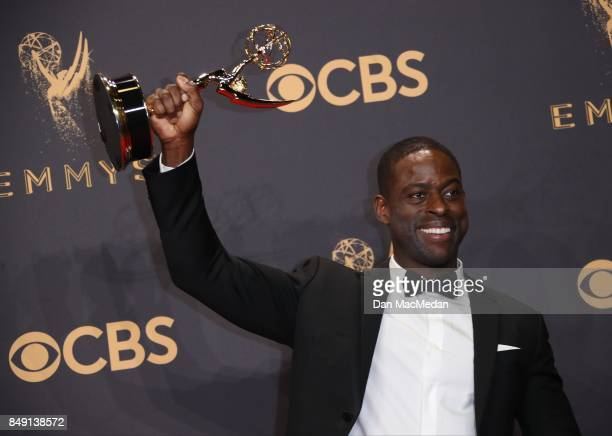 Sterling K Brown poses with his award for Outstanding Lead Actor in a Drama Series for 'This Is Us' at the 69th Annual Primetime Emmy Awards at...