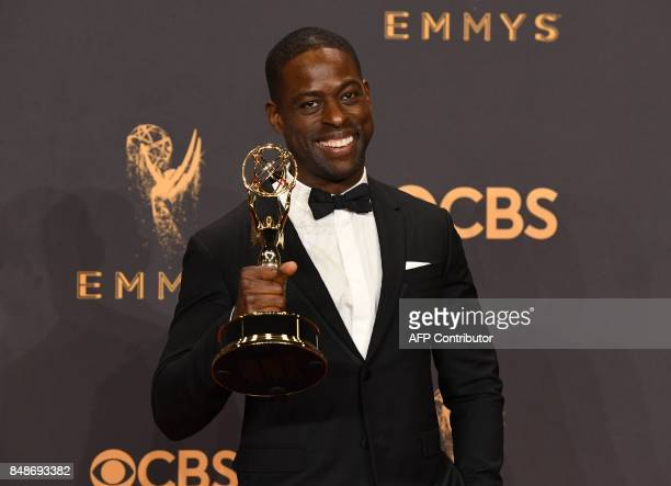 Sterling K Brown poses with the award for Outstanding Lead Actor in a Drama Series for This is Us during the 69th Emmy Awards at the Microsoft...