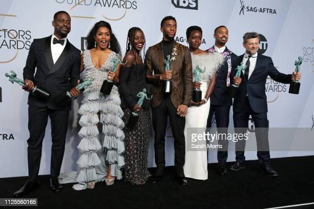 Sterling K Brown winner of Outstanding Performance by a Cast in a Motion Picture for 'Black Panther' and Outstanding Performance by an Ensemble in a...