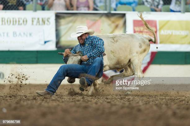 Sterling Lambert during the Steer Wrestling event at the Reno Rodeo on Tuesday June 19 2018 at the Reno Livestock Events Center in Reno Nev