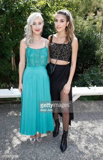 Sterling McDavid CoCEO CoFounder of Burnett and musician Jena Rose are seen during the Burnett fashion show at Elizabeth Street Gardens on September...
