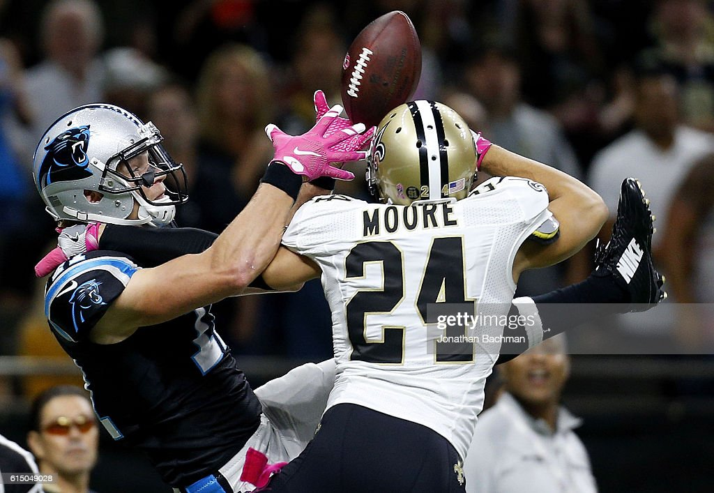 Sterling Moore #24 commits pass interference as Brenton Bersin #11 of the Carolina Panthers attempts to make a catch during the second half of a game at the Mercedes-Benz Superdome on October 16, 2016 in New Orleans, Louisiana.