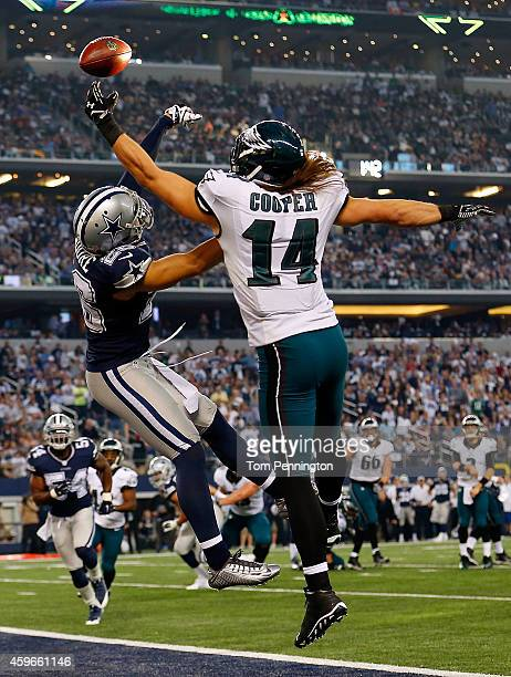 Sterling Moore of the Dallas Cowboys breaks up the pass intended for Riley Cooper of the Philadelphia Eagles in the first half at ATT Stadium on...