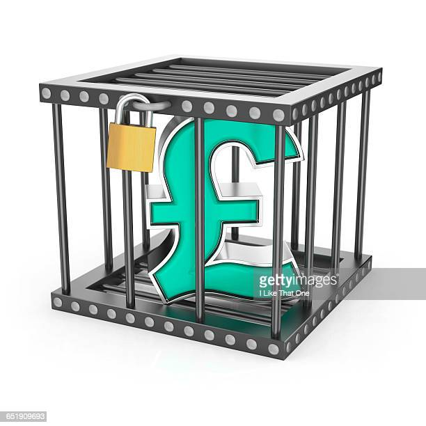 sterling pound symbol locked inside a steel cage - atomic imagery stock pictures, royalty-free photos & images