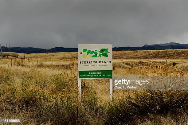 A Sterling Ranch sign rests in a field off Titan Rd where a development has been proposed in Douglas County CO Tuesday April 26 2011