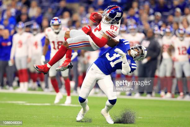 Sterling Shepard of the New York Giants catches a pas against Quincy Wilson of the Indianapolis Colts in the first quarter at Lucas Oil Stadium on...