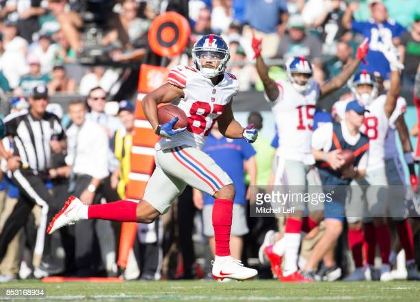 Sterling Shepard of the New York Giants catches a pass and runs for a touchdown in the fourth quarter against the Philadelphia Eagles at Lincoln...