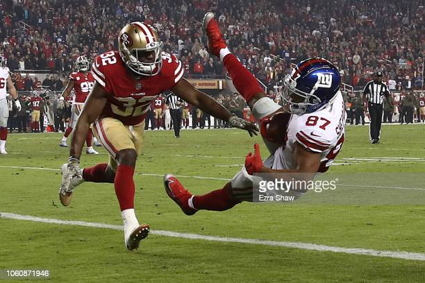 Sterling Shepard of the New York Giants catches a threeyard touchdown against the San Francisco 49ers during their NFL game at Levi's Stadium on...