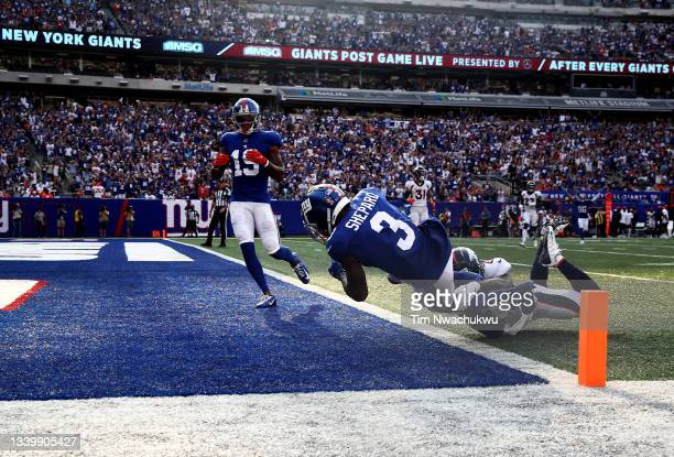Sterling Shepard of the New York Giants falls into the end zone for a 37-yard touchdown against the Denver Broncos during the second quarter at...