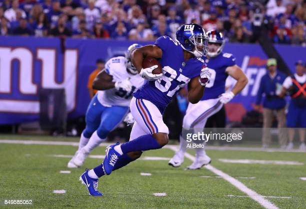 Sterling Shepard of the New York Giants in action against the Detroit Lions during their game at MetLife Stadium on September 18 2017 in East...