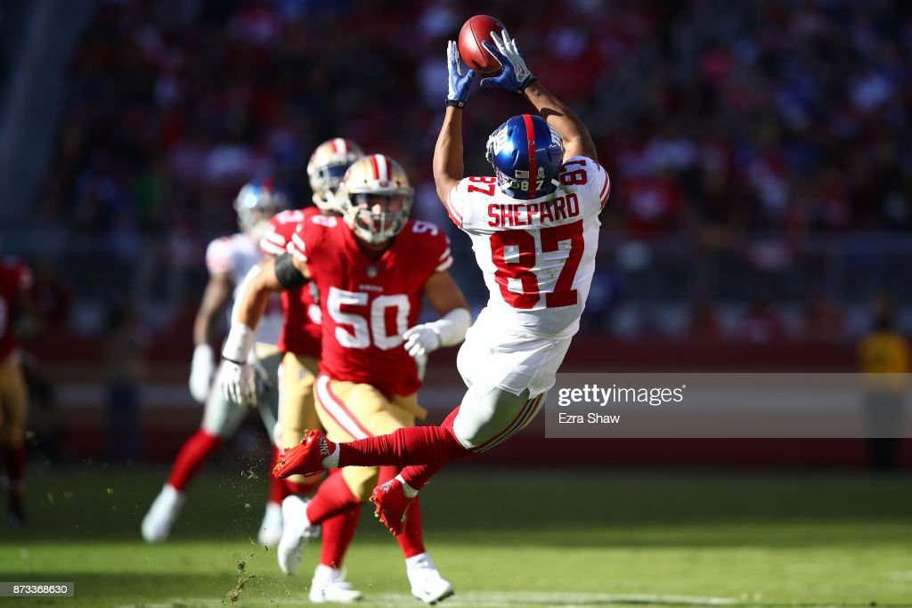 Sterling Shepard #87 of the New York Giants makes a catch against the San Francisco 49ers during their NFL game at Levi's Stadium on November 12, 2017 in Santa Clara, California.