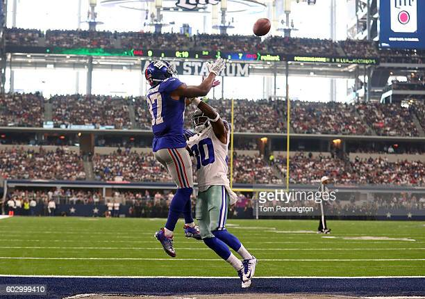 Sterling Shepard of the New York Giants makes a leaping touchdown catch over Anthony Brown of the Dallas Cowboys during the second quarter at ATT...